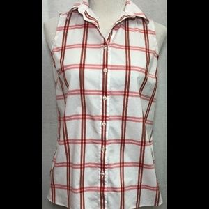 """Lands' End Women's Red Plaid Top - 36"""" Chest"""